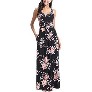Zattcas Womens Polka Dot Long Dress Summer Ruffle Sleeve Maxi Dress with Pockets