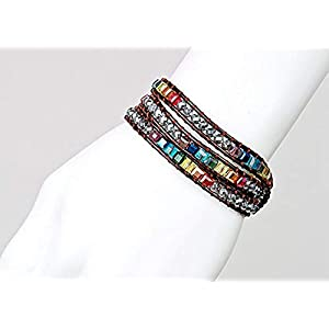 Fashion Jewelry Colorful Multilayer Crystal Gemstone Bracelet for Women – Bangle Hand-knitted Knot String Rope Leather…