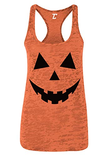 Halloween Witch Faces Pumpkins (Pumpkin Face - Halloween Costume Women's Racerback Tank Top (Orange,)