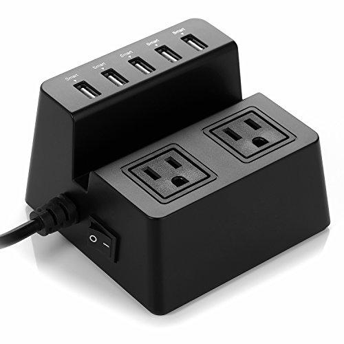 ISELECTOR 8A / 5-Port Desktop USB Charging Station with 1700J 2 Surge Power Strip - Black