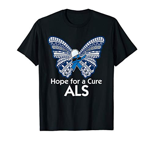 Als Cure T-shirts (ALS awareness t-shirt butterfly blue dabbing ribbon May 2018)
