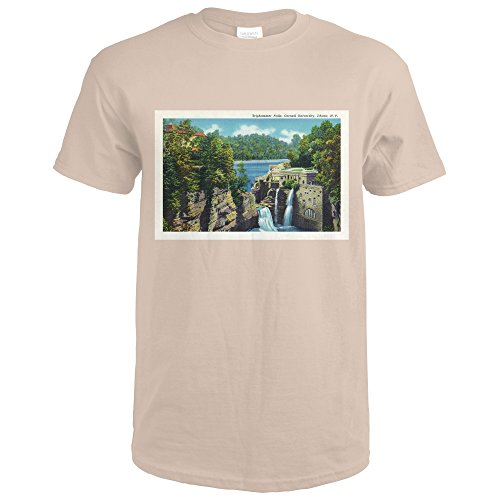 Ithaca, New York - View of Triphammer Falls, Cornell University - Vintage Poster (Sand T-Shirt Large) Cornell Vintage Apparel