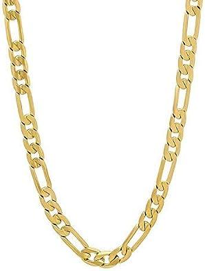 Dubai Collections Figaro Goldkette, Schmuck, für Damen und Herren, aus 24 karätigem Gold, hergestellt in den USA, perfektes Geschenk, ca. 61 71 cm
