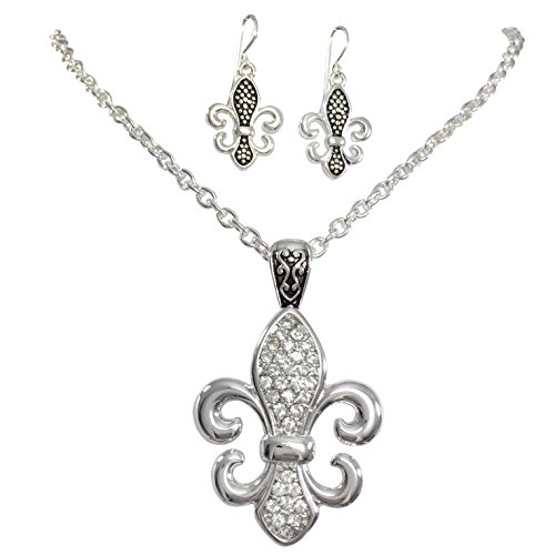 Gypsy Jewels Fleur De Lis Silver Tone Rhinestone Designer Look Necklace and Earrings Set (Medium) (Fleur Lis Designer Earrings De)
