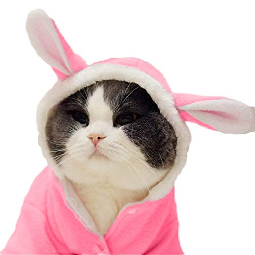 Cuteboom Dog Christmas Costume Pet Halloween Rabbit Winter Hoodie Soft Fleece Bunny Outfit with Hood for Small Dogs Puppies Cats Pink(M) ()