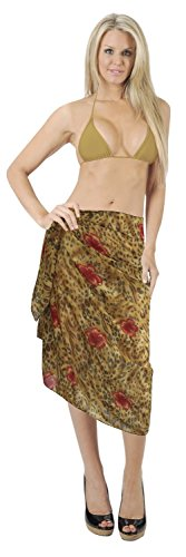 La Leela Chiffon abstrakte Kunst Hibiskus Flora Bikini Sarong 72x42 Zoll braun