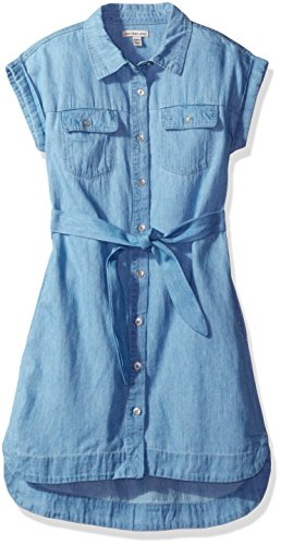 Calvin Klein Big Girls' Denim Shirtdress, Chambray, Medium (8/10)