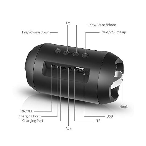 Enceinte Bluetooth Portable, 8W Enceintes Portable Haut-Parleur Bluetooth 4.2 sans Fil, avec Son 360°, Basse Améliorée, Carte TF, Mains Libres, Etanche, 12 Heures d'autonomie pour Gym/Jogging 5