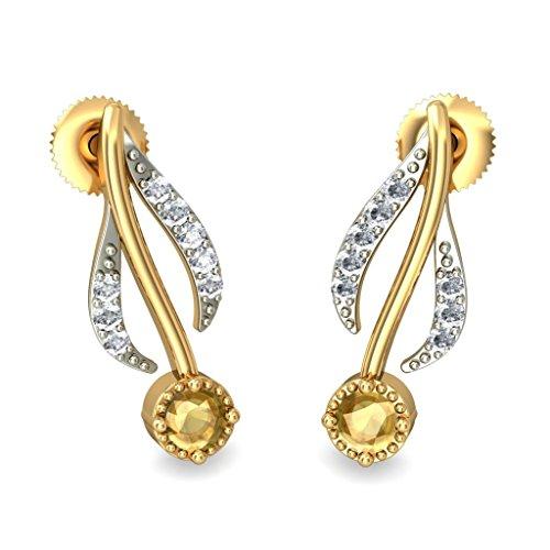 Or jaune 18K 0,14CT TW White-diamond (IJ | SI) et citrine Boucles d'oreille à tige