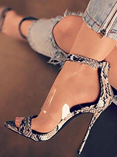 nuevos Película PVC de con Fina Zapatos ZHZNVX Alto Piel Tacón Serpiente de Los Zapatos de Elegante RPqw5qa