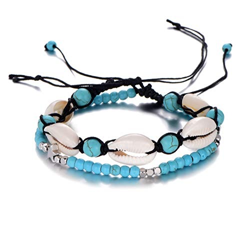 Filluck Boho Anklet Bracelet Cowrie Layered Turquoises Sea Turtle Shell Bracelet Silver Star Beach Anklet Foot Jewelry Set