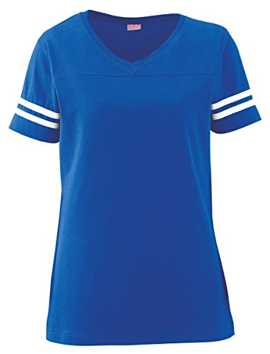Lat Vintage V-Neck Collar Football T-Shirt_Vintage Royal/ Blended White_Large