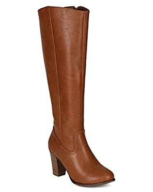 Breckelles BE77 Women Leatherette Chunky Heel Knee High Riding Boot - Tan Leatherette (Size: 5.5)