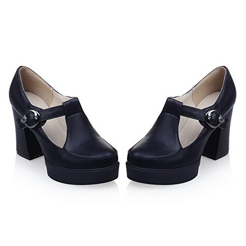 Black Solid Toe High Closed Women's Pumps WeiPoot Shoes Heels Buckle Round 74wxAnF1qZ