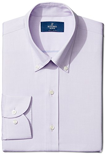 (BUTTONED DOWN Men's Slim Fit Button-Collar Non-Iron Dress Shirt (No Pocket), purple, 15.5 31)