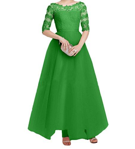 Langarm Festlichkleider Abendkleider Elegant Damen Spitze Lang Charmant Grün Tuell Brautmutterkleider Partykleider Promkleider CwHtqRR