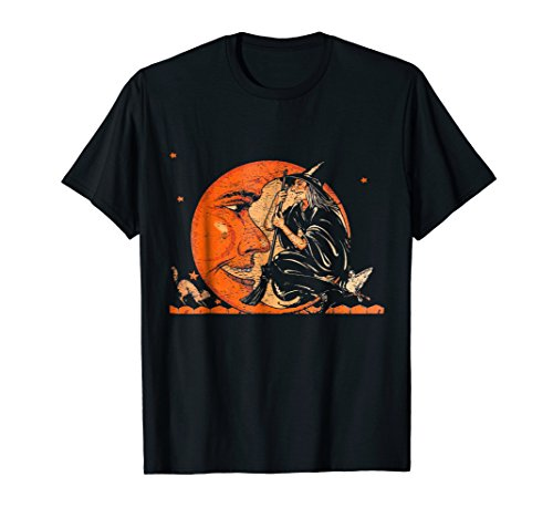 Great Vintage Witch and Moon Halloween T-Shirt]()