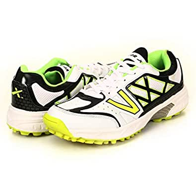 KD Vector Cricket Shoes Rubber Spike Atomic Pro Hockey Sports Studs Indoor Out Door Trek Shoes Size: 6 White/Black/Green