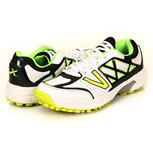 KD Vector Cricket Shoes Rubber Spike Atomic Pro Hockey Sports Studs Indoor Out Door Trek Shoes(White/Black/Green,UK09)