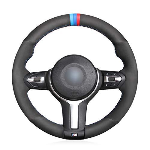 MEWANT Customized Hand-Stitch Black Suede Car Steering Wheel Covers for BMW F87 M2 2015-2017 F80 M3 F82 M4 2 M5 2014-2017 F12 F13 M6 F85 X5 M F86 X6 M F33 2013-2017 F30 M Sport 2013-2017