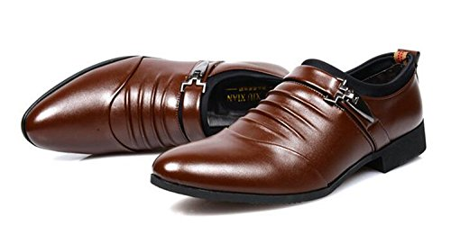 On Men's Lined Shoes Slip Loafer Formal Leather missfiona Monk Strap Brown Shoes Dress Business zACqSa