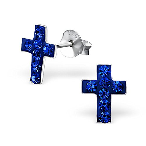 925 Sterling Silver Hypoallergenic Sapphire Crystal Cross Stud Earrings 5000