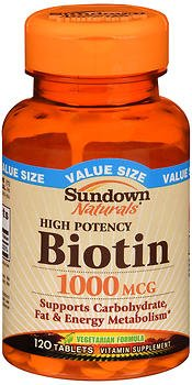 Sundown Naturals Biotin 1000 mcg Vitamin Supplement Tablets - 120 ct, Pack of 6 by Sundown Naturals