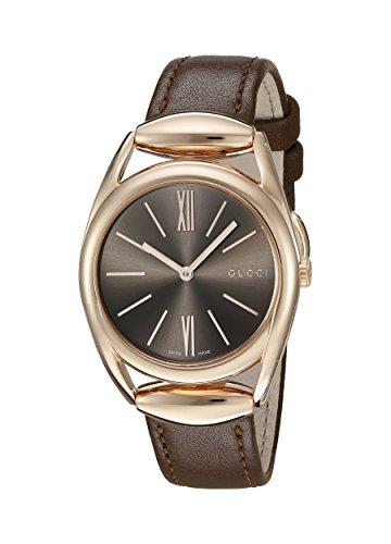 Gucci Women's Horsebit Quartz Metal and Leather Automatic Watch, Color: Brown (Model: YA140408)