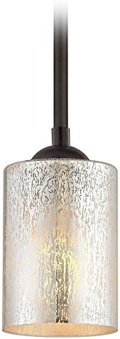 Bronze Mini-Pendant Light Mercury Glass Cylindrical