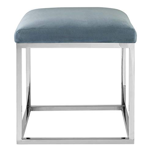 Modway Anticipate Modern Ottoman With Sheepskin Upholstery and Silver Stainless Steel Frame, White