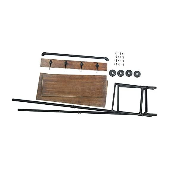 WGX Design For You Industrial Coat Rack Shoe Bench, Hall Tree Entryway Storage Shelf, Solid Wood with Pipe Frame - 【Retro Style】:Industrial style solid wood and pipe 【Multi-functional】:Beautiful and practical .You can use it wherever you want. 【Size】:Total height:63in*31.5in*12.5in - hall-trees, entryway-furniture-decor, entryway-laundry-room - 415UqMw8J L. SS570  -