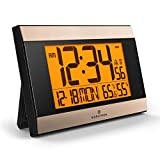 Marathon CL030052BK-GD Atomic Wall Clock with Auto Back Light Feature, Calendar, Temperature, Humidity and Big 2 ½ Inch Digits. C Cell Batteries Included. Color-Black Panel/Gold Trim.