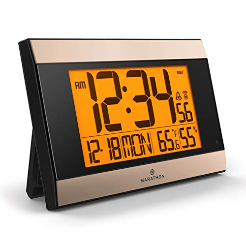 Marathon Atomic Wall Clock with Auto Back Light Feature, Calendar, Temperature, Humidity and Big 2 ½ Inch Digits. C Cell Batteries Included. Color-Black Panel/Gold Trim. SKU-CL030052BK-GD