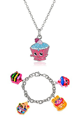 Shopkins Girls' Silver Plated Enamel Cupcake Chic on Chain Pendant Necklace + Bracelet with 4 Charms + Free Bonus SPK Mystery Jewelry Pc. (4 Cutout Character Charms : Cupcake Chic, Yo-Chi, Wishes, Le'Quorice) (Yochi Necklace Silver)