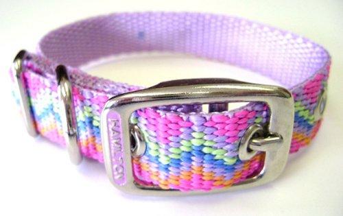Hamilton 5/8-Inch by 16-Inch Single Thick Nylon Deluxe Dog Collar, Mutli Colored Pastel Weave, Lavender ()