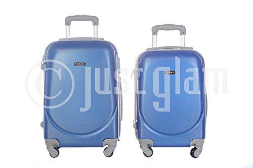 JustGlam - Set 2 bagagli trolley a mano da cabina rigidi in abs 4 ruote piroettanti adatti voli lowcost mis. 50 e 55 / coppia2010royal