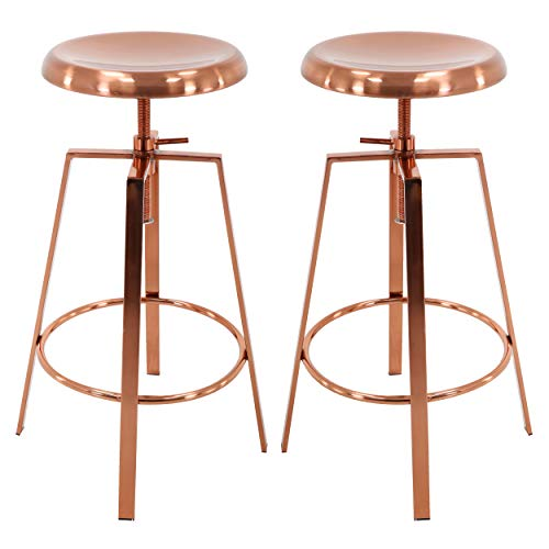 Brage Living 4-Legged Rose Gold Backless Metal Round Seat Adjustable Height Bar Stools with Footrest (Set of 2) (Rose Gold)