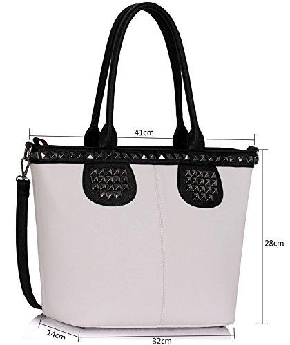 ANNA GRACE - Bolso al hombro de piel sintética para mujer Design 5 - Black/White