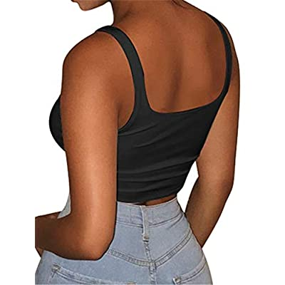 GOBLES Women's Sexy Summer Basic Solid Sleeveless Stretch Crop Tank Top at Women's Clothing store