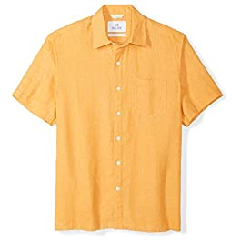 Amazon Brand – 28 Palms Men's Standard-Fit Short-Sleeve 100% Linen Shirt
