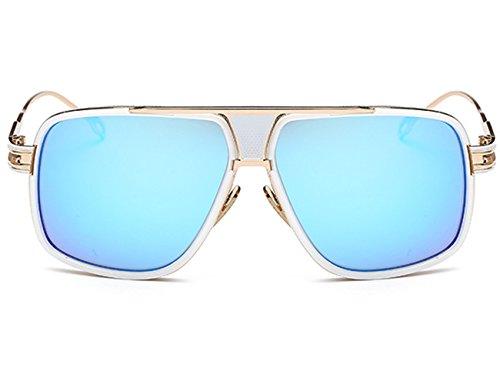 Dorado Polarizado Wayfarer Retro Metálico azul Estilo Hombre Unisexo De Retro Vintage Redondo Círculo Gafas Clásico Sol FqInaR