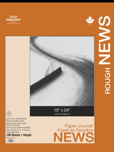 PRO ART 18-Inch by 24-Inch Rough Newsprint Pad Paper, 100 Sheets ()