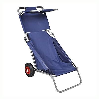 HomyDelight Cart & Island, Beach Trolley with Wheels Portable Foldable Blue