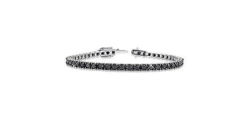 taglia 40 adcdb 1a174 Bracciale Tennis classico a griffe in argento 925 rodiato con zirconi neri  taglio brillante