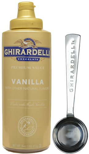 Caramel Vanilla Fudge - Ghirardelli Vanilla Sauce, 16 Ounce Squeeze Bottle - with Limited Edition Measuring Spoon