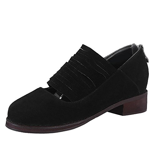 Mee Shoes Women's Chic Zip Block Heel Court Shoes Black