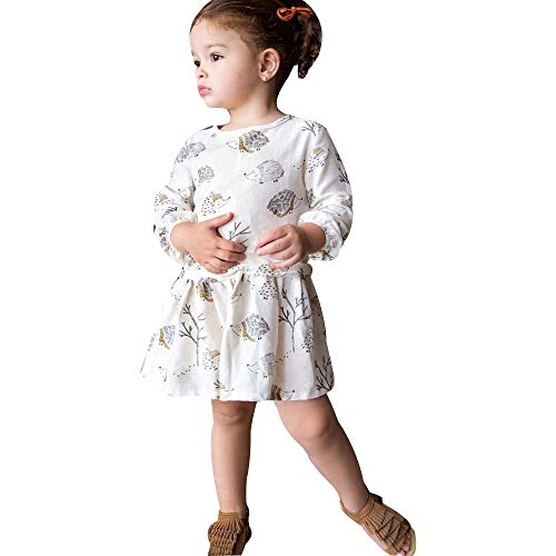 Baby Girl Dress,Fineser Adorable Toddler Kids Baby Girl Cartoon Hedgehog Tree Casual Dress Clothes Outfits (White, 4Year(120)) -