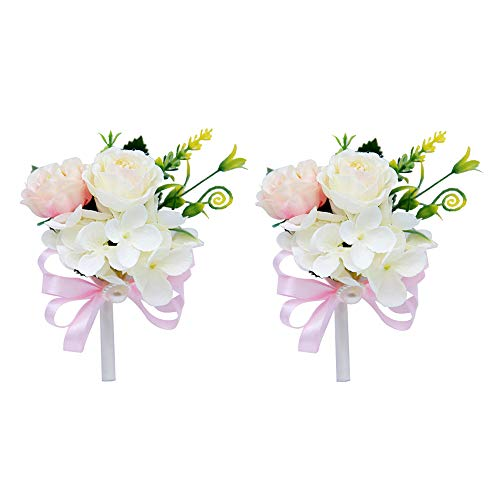 DCONMEE 2 Pieces Pink Peony Boutonniere for Men Wedding Handmade Cloth Flower Corsage and Boutonniere Accessories Set Gift-Boxed ()