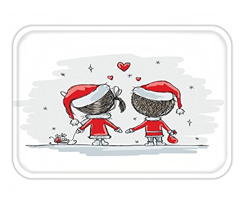 Minicoso Doormat Christmas Decorations Collection Soul Mates Love Couples With Santa Costumes Family Romance Winter Night Picture Red White