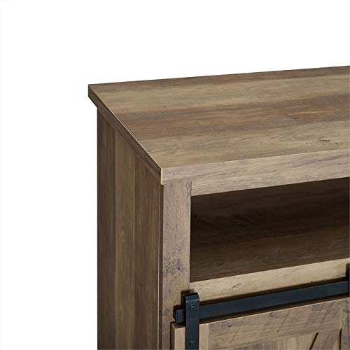 Pemberly Row 52 Sliding Door TV Stand Console in Rustic Oak Barnwood